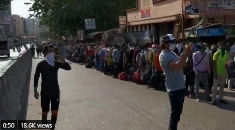3000 Migrant workers standing in queue at Dharavi; 20 lakh crore means nothing to them, They are hungry