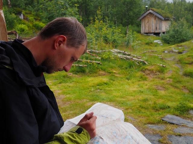 mapa, orientace, chata Ingjerdbu,Vettismorki, Norsko, Jotunheimen