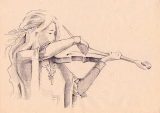 girl playing violin pic