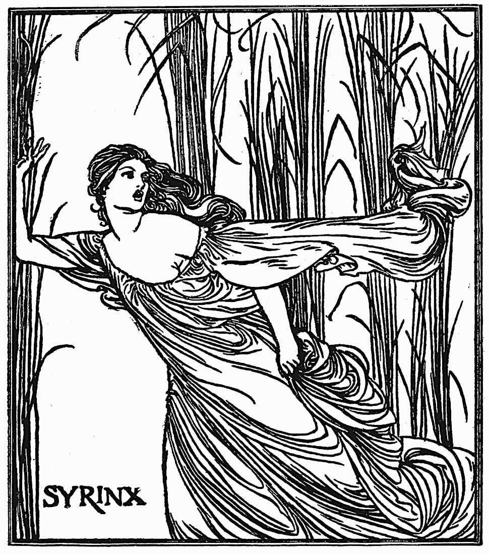 Robert Anning Bell's illustration of Syrinx, a woman fleeing through swamp wetlands