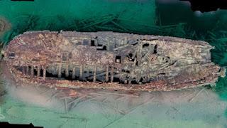 El pecio del HMS Erebus en el fondo del mar