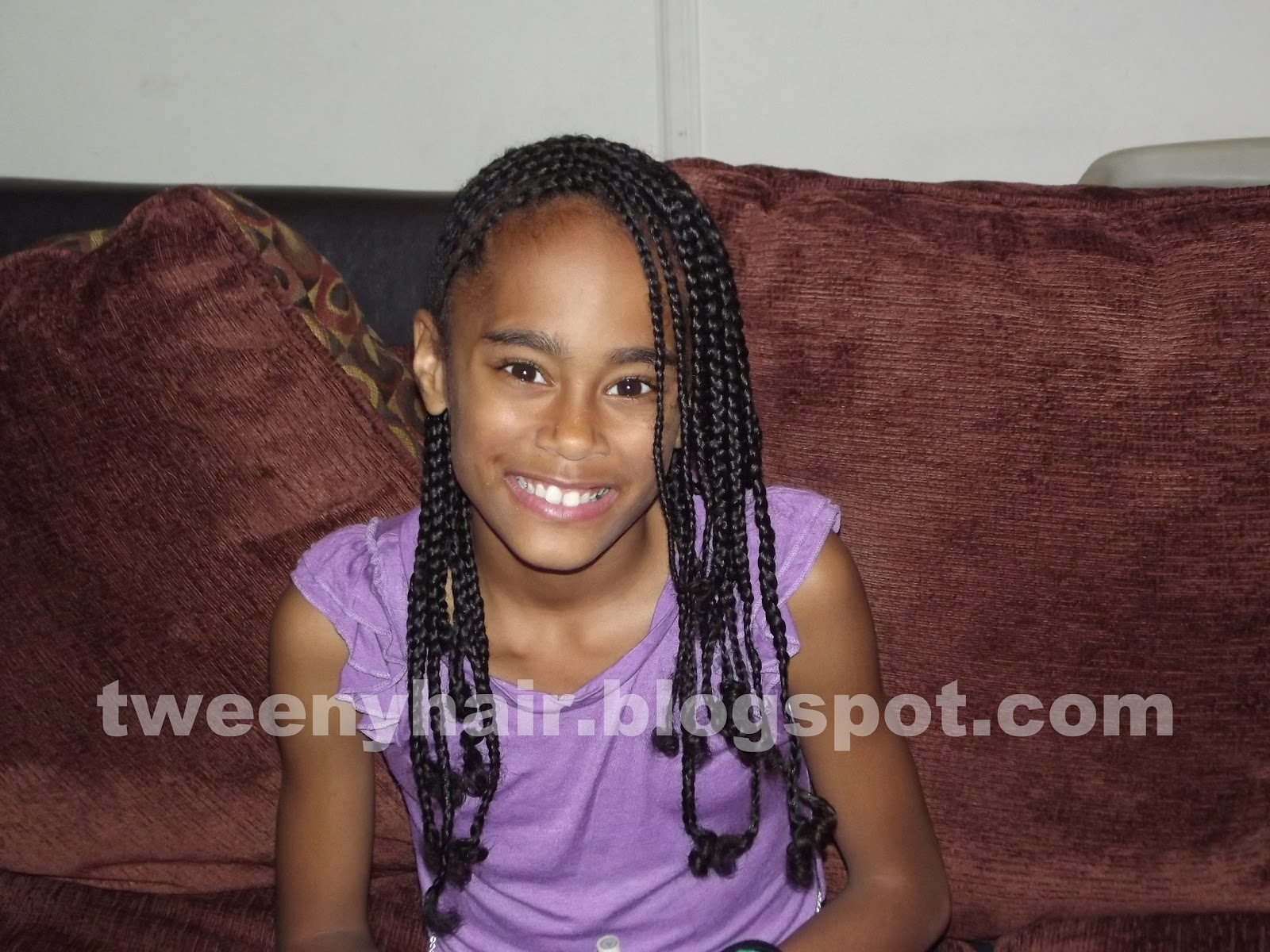 Side Cornrows And Medium Box Braids