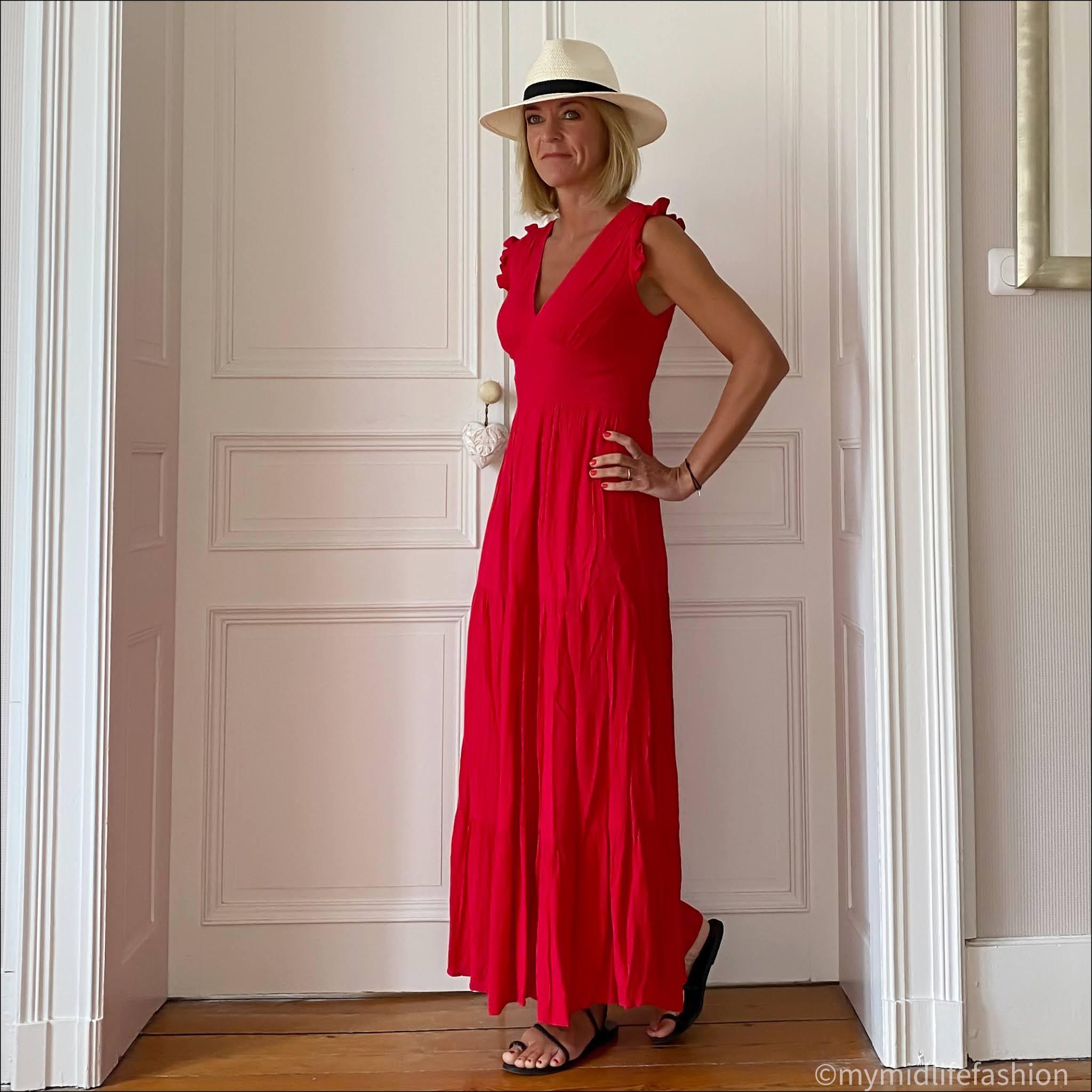 my midlife fashion, Goa maxi dress, Zara Panama hat, Ancient Greek black eleftheria braided leather sandals