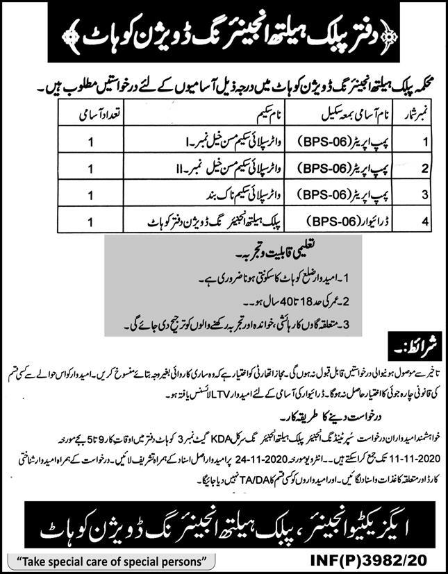 Public Health Engineering Division Kohat Jobs