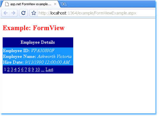 How to use ItemTemplate and Paging in asp net FormView