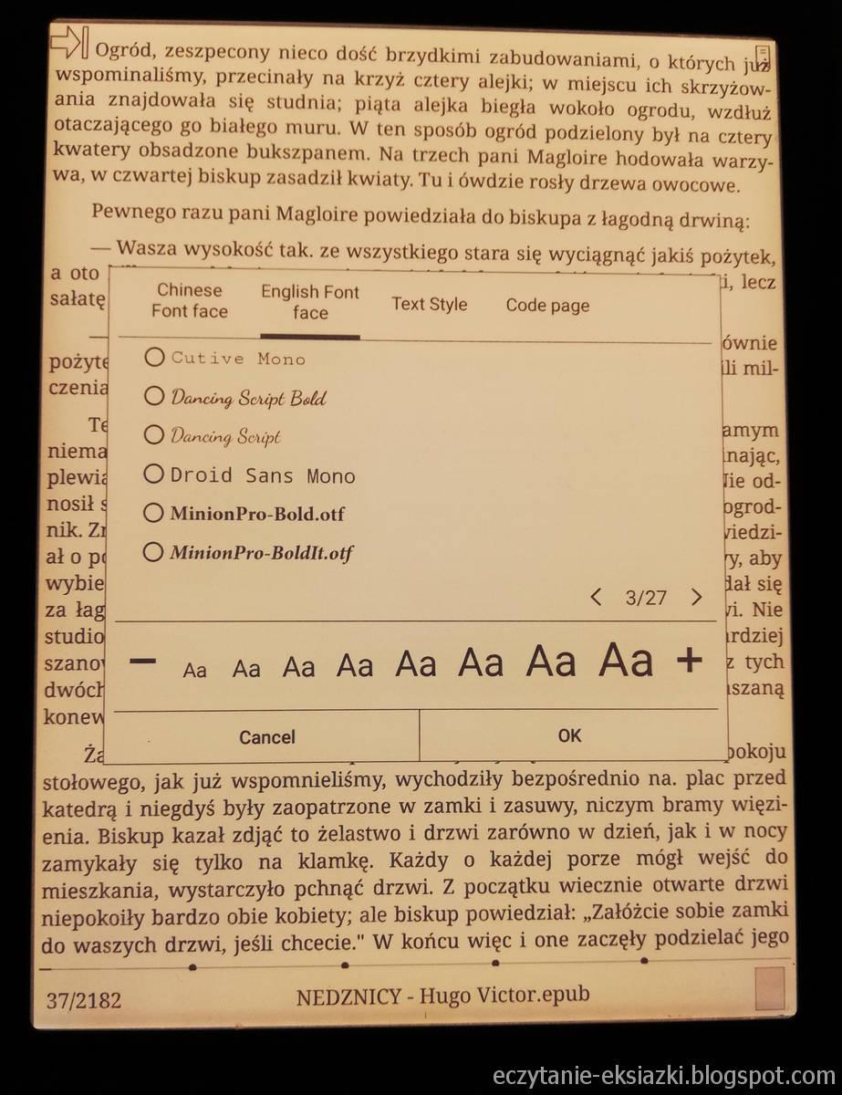 Ustawienia kroju i wielkości czczionki w aplikacji Neo Reader 2.0 na czytniku Onyx Boox Nova