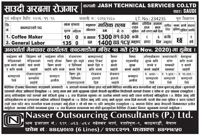 Jobs in Saudi Arabia for Nepali, Salary NRs 44,185