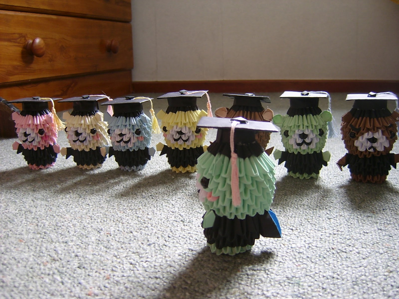 Jewellia Handicrafts 3d Origami Diagram Graduation Bears