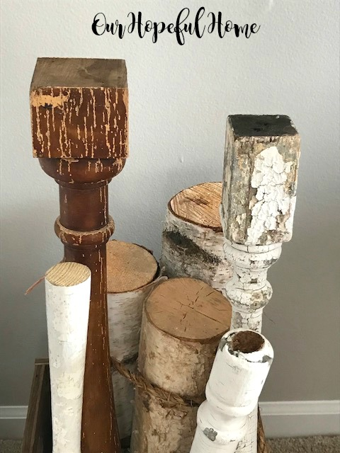 vintage balusters architectural salvage birch logs