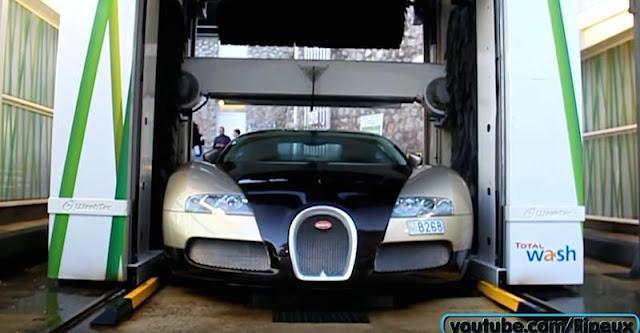 1台数億円のブガッティ・ヴェイロンをガソリンスタンドでコイン洗車!?