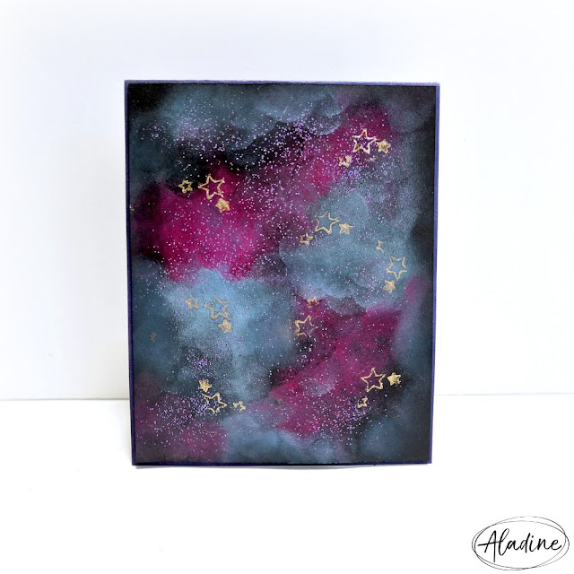 Blue and Purple Galaxy Card with Embossed Gold and Purple Stars
