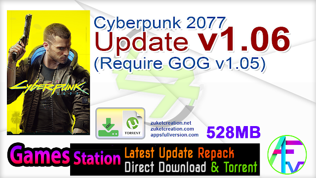 Cyberpunk 2077 Update v1.06 (Require GOG v1.05)