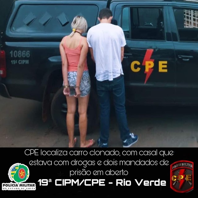Rio Verde: Veículo roubado é recuperado e casal é preso por tráfico de drogas