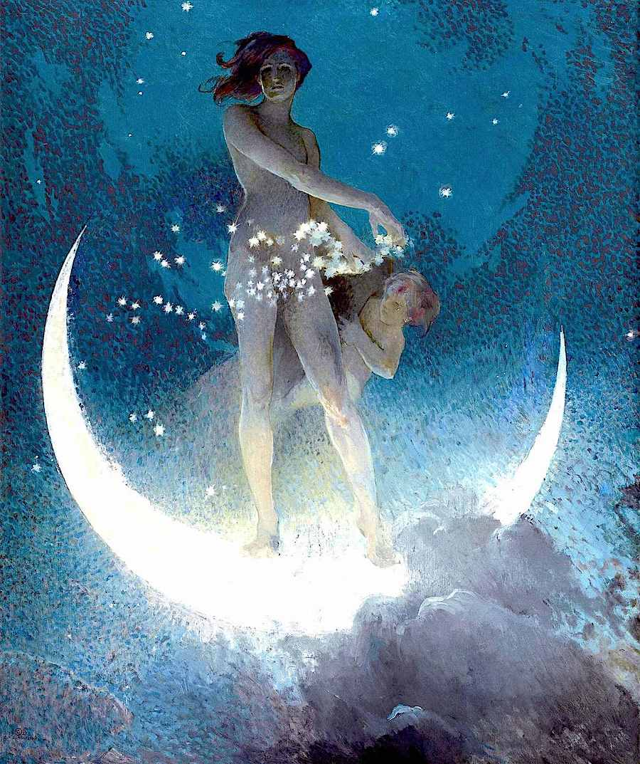 an Edwin Howland Blashfield color image of a moon goddess sprinkling stars