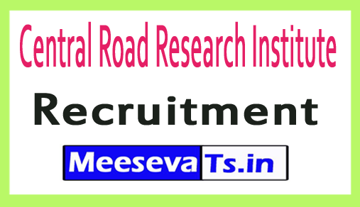 Central Road Research Institute CRRI Recruitment
