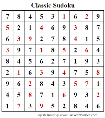 Solution of Classic Sudoku Puzzle (Fun With Sudoku #272)
