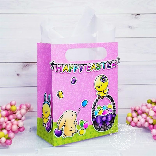 Sunny Studio Stamps: Chickie Baby Sweet Treat Gift Bag Dies Spring Scenes Spring Showers Woodland Borders Easter Treat Bag by Ana Anderson