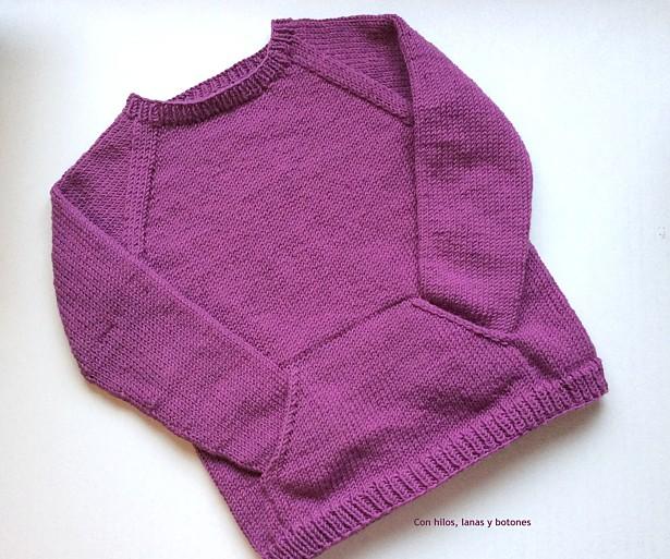 Con hilos, lanas y botones: Quokka Sweater Drops Big Merino ciruela