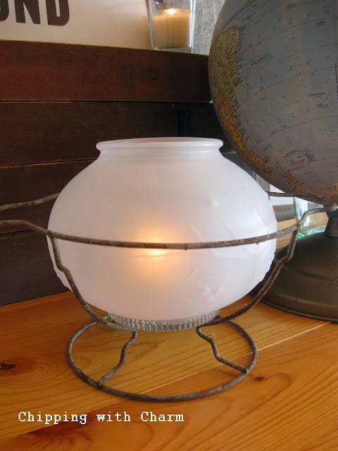 Chipping with Charm: light globe lantern...http://www.chippingwithcharm.blogspot.com/