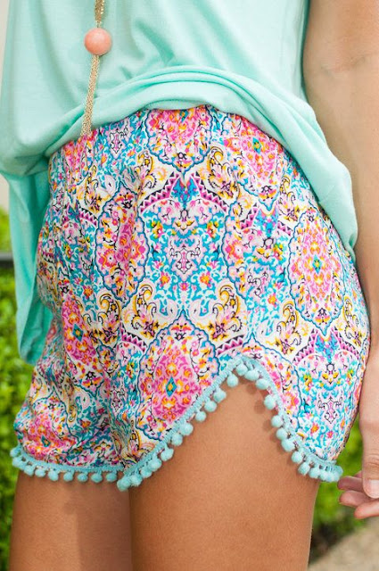 Pattern Pop Shorts, Pink-Blue