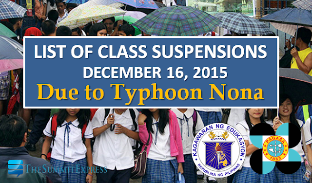 Class suspension for December 16, 2015 due to Typhoon Nona