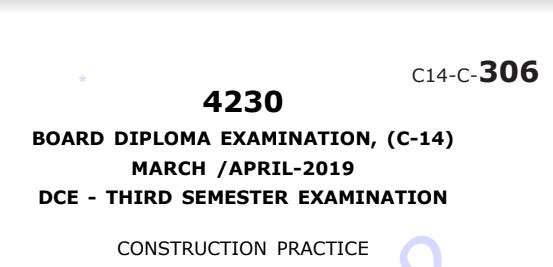 Sbtet Construction Practice Previous Question Paper c14 March/April 2019