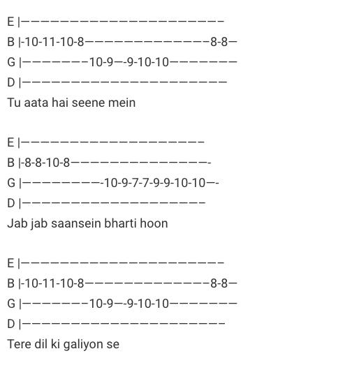 Kaun Tujhe Guitar Tab/ MS Dhoni – The Untold Story / Guitar Tabs / Lead Notes / Hindi Songs Tabs / Palak Muchhal / Bollywood / Kaun Tujhe Guitar MS Dhoni – The Untold Story Movie / Gaane