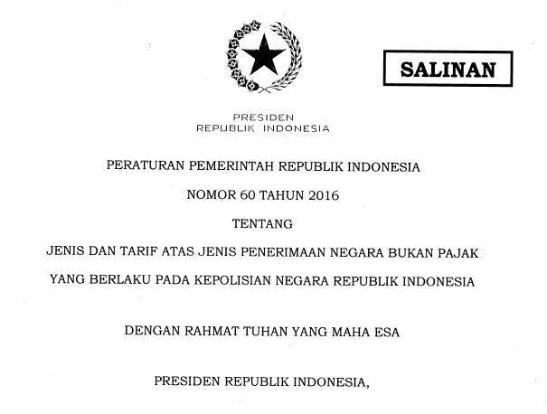 Tarif Pajak Kendaraan Bermotor sesuai dengan PP No 60 Tahun 2016