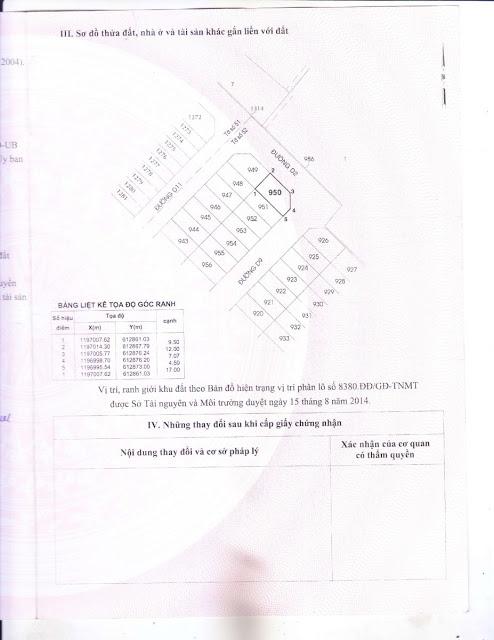 Giấy Chứng Nhận Quyền Sử Dụng Đất Dự Án An Thiên Lý Quận 9 (Mặt 1)