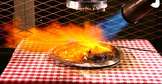 Fazendo pizza com uma prensa hidráulica e um maçarico