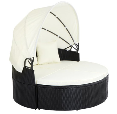 Miadomodo Polyrattan Sun Lounger with Foldable Roof