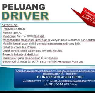 Lowongan Kerja Driver di PT Inter Pan Pasifik Group