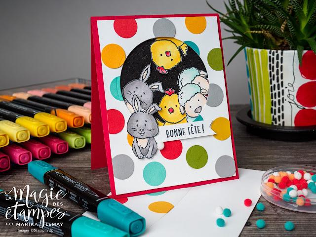 Carte d'anniversaire pour enfant fait avec le jeu d'étampe Stampin' Up! Bienvenue à Pâques