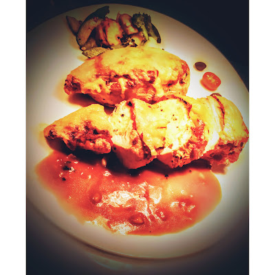 scrambled eggs healthy chicken parmesan serving with vegetables and sauce
