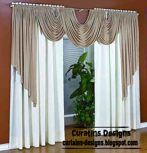 Dream curtain design, white window treatment with scarf ...