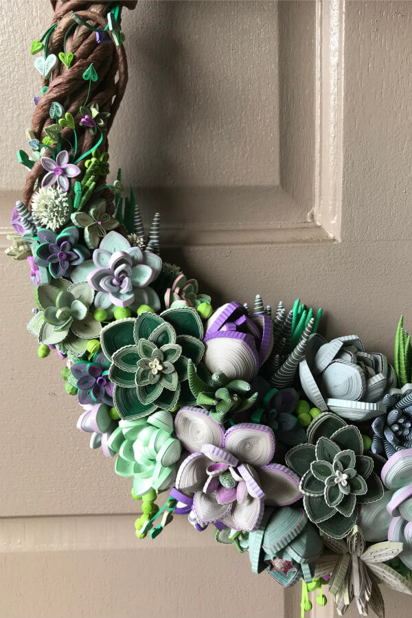 close view of quilled succulent wreath