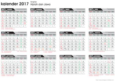 Template Kalender 2017 Lengkap Plus Hijriah dan Jawa