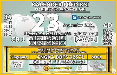 Prediksi Kalender Togel Singapura Kamis 23 September 2021