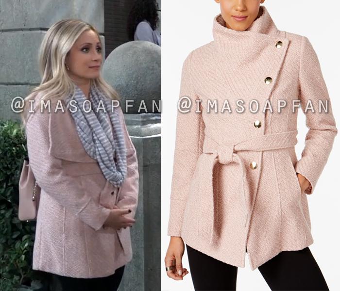 Lulu Spencer Falconeri, Emme Rylan, Belted Pink Wrap Coat, General Hospital, GH
