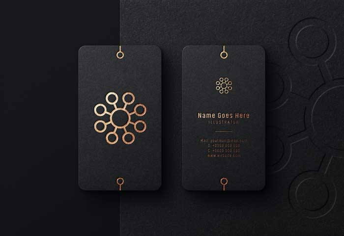 Luxury Black Business Card Logo Mockup