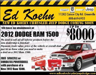 Ed Koehn Ford >> Ed Koehn Chrysler Jeep Dodge: 2012 Ram 1500 Year End Rebates