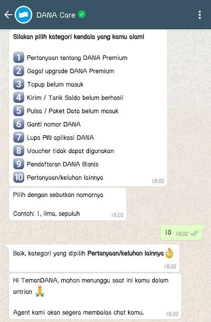 Cara Menghubungi CS Dana via Whatsapp (WA)