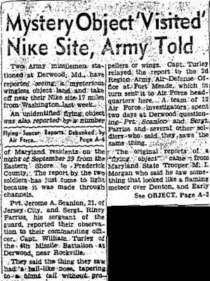 Mystery Object 'Visited' Nike Site, Army Told (Head - On Black) - Washington Evening Star 12-7-1958