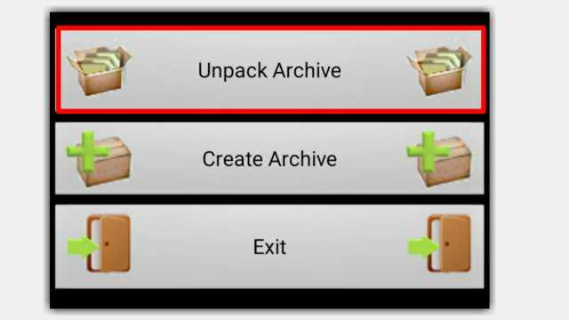Pilih Unpack Archive