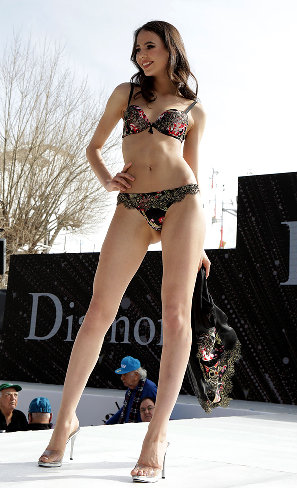 Models at the 2018 Ski and Fashion Festival in Beirut's Farayas ski resort showing underwear at the lingerie show.
