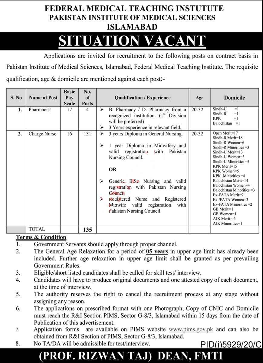 Federal Medical Teaching Institute, Pakistan Institute of Medical Sciences PIMS Jobs 2021 | 135 Posts