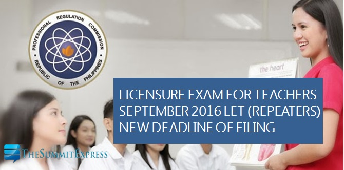 PRC extends repeaters deadline of filing for September 2016 LET