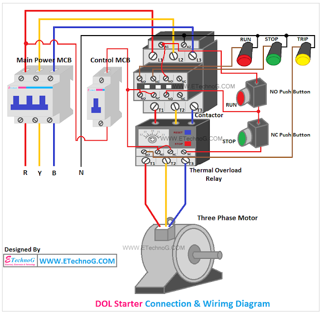 DOL Starter connection and wiring diagram