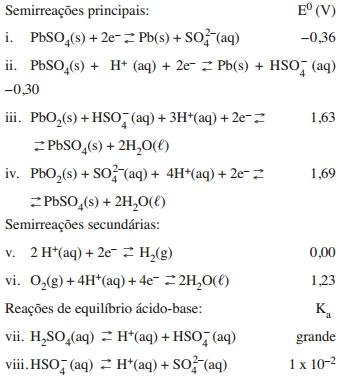 ITA 2021: Sejam dadas as reações no equilíbrio envolvidas nos processos de carga e descarga de uma bateria chumbo-ácido e seus respectivos potenciais padrão de eletrodo versus EPH (E⁰) ou constantes de dissociação ácidas (Ka), todos a 25°C.