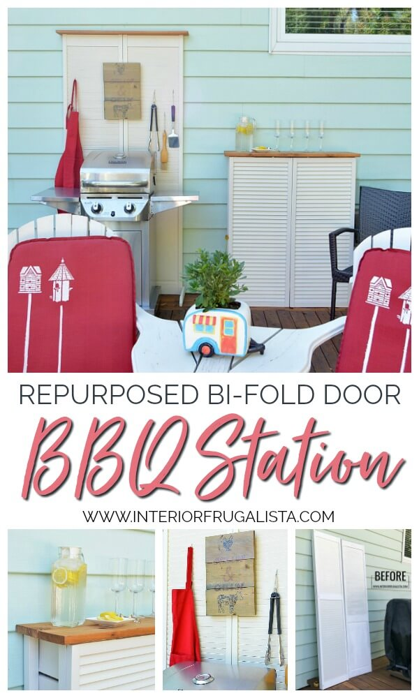 How to hide unsightly outdoor house vents with repurposed wooden louvered bifold doors into a DIY outdoor bar table plus BBQ grilling utensil holder. #houseventcover #repurposedbifolddoor #repurposedlouvereddoor #diyoutdoorbartable